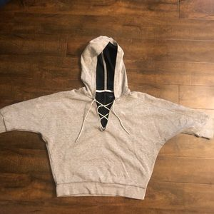 Grey Lace Up Puma Sweatshirt
